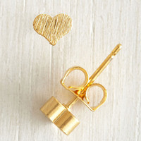 Minimal Hearts of Gold Earrings by ModCloth