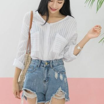 White V-neck Buttoned Shirts Womens Tops Blouses See Through Lace