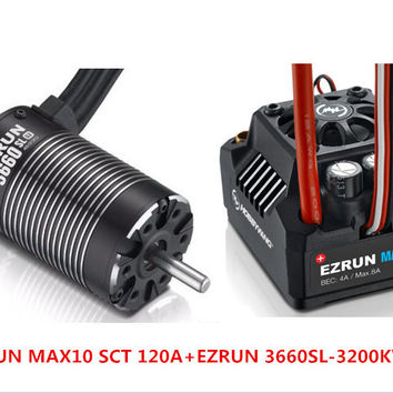 Hobbywing EZRUN MAX10 SCT 120A Brushless ESC + 3660 G2 3200KV/ 4000KV/4600KV Sensorless Motor Set for 1/10 RC Car Truck F19286/8