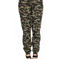 women's fashion camouflage army faux leather trim zip pocket jogger pants 10790
