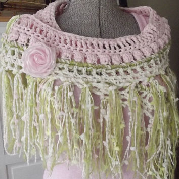 Freeform Crochet Scarf, Pink Cream Chartreuse Green, Dreams Flowers Fairy Fringe, Lightweight Springtime, Wrap Sarong, Photo Prop