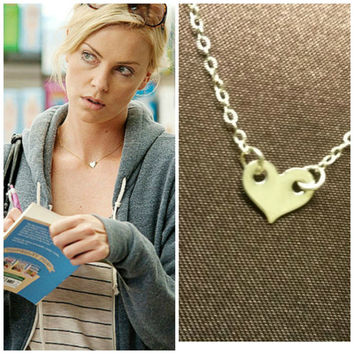 Celebrity necklace, Celebrity jewelry, Tiny Heart Necklace, Sterling Silver Heart Necklace, Minimalist Necklace,Celebrity Charlize Theron