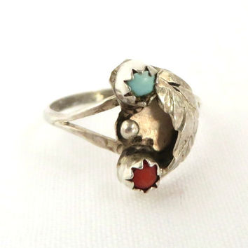 Vintage Navajo Turquoise Coral Ring, Old Pawn Sterling Silver Ring, Native American Feather Ring Size 4