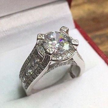 Royal Dazzy Exclusive 4.0ct Round Cubic Zirconia Engagement Wedding ring S-6