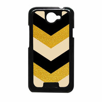 Chevron Classy Black And Gold Printed HTC One X Case