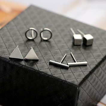 Beautyway Trendy 4pair/set Geometric Triangle Round Square T Bar Stud Earring For Women Fashion Silver Gold Black Alloy Earrings