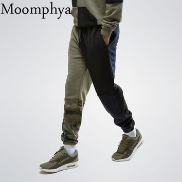 Moomphya 2017 New Winter 4 color Splicing Sweatpants skinny Fall autumn Side pockets pants Men Joggers With Camo Splicing