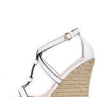 Way You Look Tonight White Espadrille Wedges