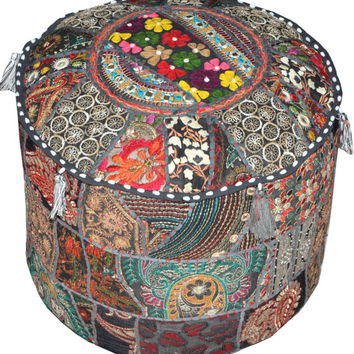 XL Black pouf Ottoman floor pillow Bohemian Footstool Decorative Tuffet bean bag chair seating furniture pouf foot stool chair cover pouffe