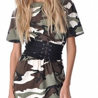Multicolor Camo Print Short Sleeve Mini Dress