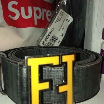 "Fendi Grey/Yellow ""FF"" College Belt 100% Authentic 40/100 RARE"