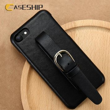 CASESHIP Genuine Leather Phone Cases For iPhone 7 Plus Adjustable Wrist Strap Luxury Protective Cases For iPhone 7 8 6 Plus Capa
