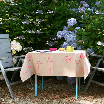 Neon Pink elderberry linen tablecloth - Washed flax linen household linen - Flowery Table linen - Eco friendly natural fabric tablecloth