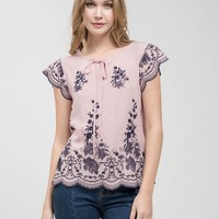 Blush Floral Embroidered Scallop Top