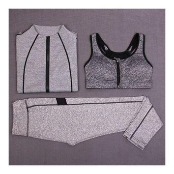 Woman Running Sports Fitness Yoga Clothes 3pcs Set   light grey