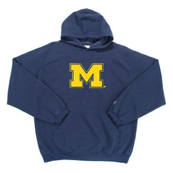 Michigan Wolverines NCAA Goalie Hooded Sweatshirt (Navy Blue) (Large) (Felt Applique)