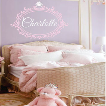 "Custom Name Decal Princess Crown With Shabby Chic Frame - Elegant Baby Nursery - Girl Teen - monogram vinyl lettering. 24""H x 38""W"