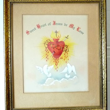 Antique Religious Watercolor Painting Sacred Heart Folk Art Painting