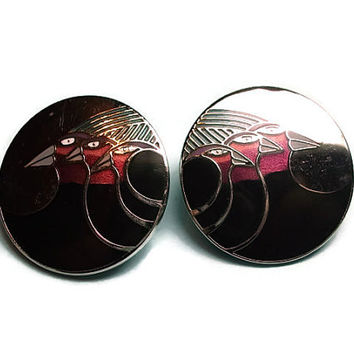 LAUREL BURCH Earrings Black & Purple Celestial Birds Pierced Earrings, Vintage Jewelry, Costume Jewelry (sn 344)
