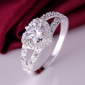 2016 wedding jewelry stamped 925 silver rings for women silver ring heart white zircon wedding rings party jewelry XJ388
