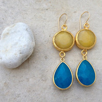 SPRING women JEWELRY fashion long  DUAL sunshine yellow & classic blue drop stones gemstone earrings textured matte golden Israel