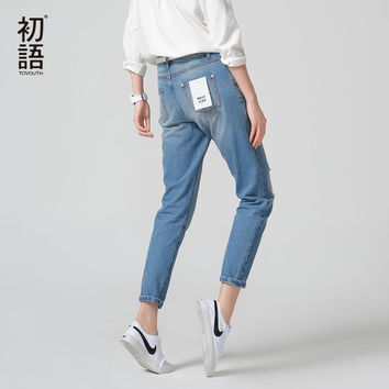 Toyouth New Arrival Cotton Jeans Women Ankle-Length Bleached Casual Loose Pants Jeans Plus Size