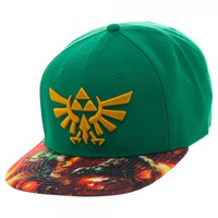 Nintendo Zelda Sublimated Bill Snapback - Hats - Apparel - Nintendo Zelda Sublimated Bill Snapback -