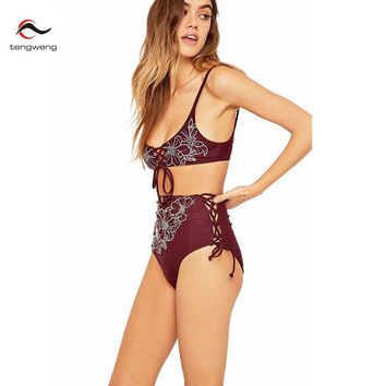 2017 Sexy Women Vintage Lace Up Bandeau Padded Bikini Set Floral Print Swimsuit High Waist Bath Suit Bandage Swimwear Brazilian