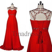 Custom Red Beaded Long Prom Dresses Backless Evening Dresses Bridesmaid Dresses Party Dress Evening Gowns Cocktail Dress Homecoming Dress