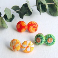 Fabric Stud Earrings - Set Of Three - Medium