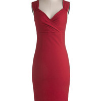 ModCloth Vintage Inspired Long Sleeveless Bodycon Lady Love Song Dress in Ruby