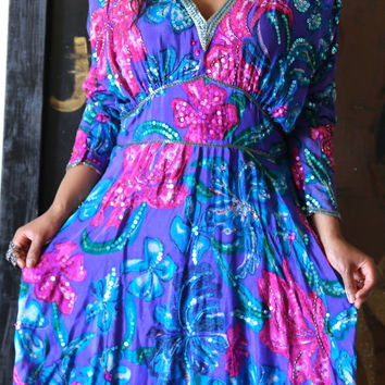 Sequin Beaded Colorful Large Vintage Floral 100% Pure Silk Vintage Boho Party Cocktail Dancing Dress