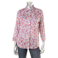 Alfred Dunner Womens Cotton Floral Print Button-Down Top