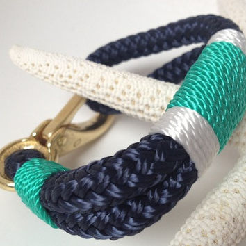 Navy Nautical Rope Bracelet with White & Jade Stripe with Bronze clasp