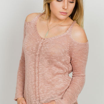 Eleanor Cold Shoulder Sweater - Dusty Rose
