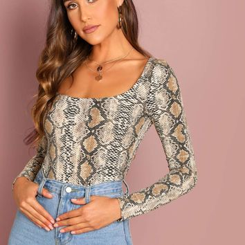 Snake Pattern Square Neck Tee