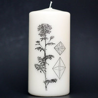 Element Candle - Pillar Candle - Witchcraft - Crystals - Flower