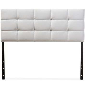 Baxton Studio Bordeaux Modern and Contemporary White Faux Leather Queen Size Headboard  Set of 1