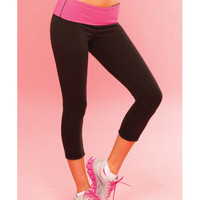 Pink Lipstick Sweat Yoga Pant Thick Reversble For Support & Compression W-secret Pocket Black Lg