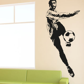 Vinyl Wall Decal Sticker Soccer Player Kick #5076