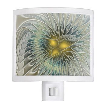 Golden Flower Fantasy, abstract Fractal Art Night Light