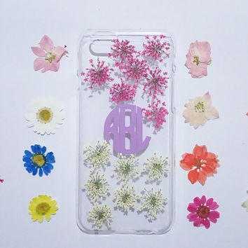 monogram iphone 5s case, iPhone 5s Case Floral, iPhone 5 Case Clear, Pressed Flower iPhone 5s Case, samsung galaxy s6 case, s5 case,