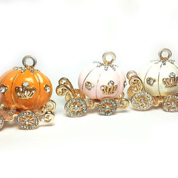Pumpkin Carriage in Pink Princess Fairy Tale Charm