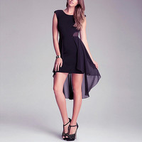 Black Asymmetrical Tail Dress
