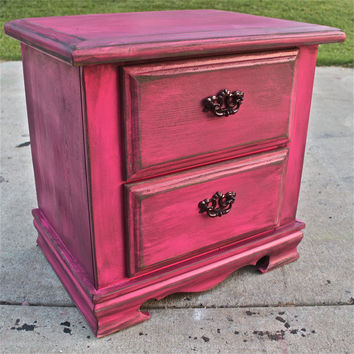 Magenta Night Stand /Distressed Glazed Furniture /Brown Drawer Pulls/  Distressed Bedroom Furniture /