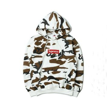 Supreme Long Sleeve Embroidery Letter Hooded Sweater Jacket