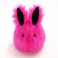 Fuchsia Hot Pink Easter Bunny Faux Fur Stuffed Animal Toy Plushie - Large Size