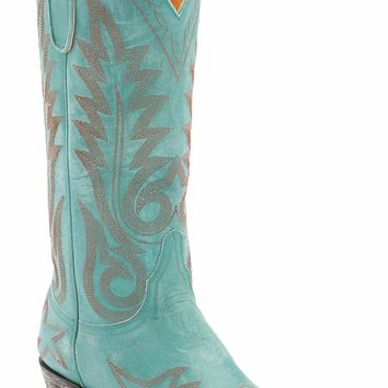 Old Gringo® Women's Nevada Destroyed Turquoise Fancy Stitched Snip Toe Western Boots