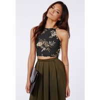 Missguided - Ghita Floral Jersey Crop Top Black