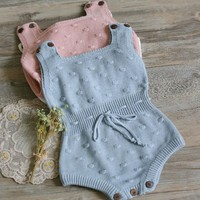 Baby Girls romper sleeveless Newborn Baby Girls Knitted Halter Toddler Strap Jumpsuit Clothes baby Rompers Outfit drop ship